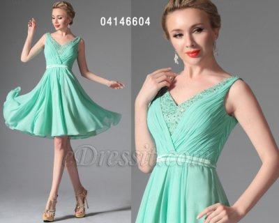 فستان أخضر ناعم قصير للبيع