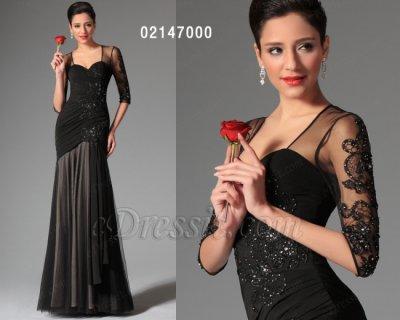 فستان الحفلة الأسود الطويل للبيع eDressit