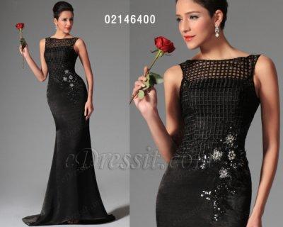 فستان أسود طويل كلاسيكي أنيق