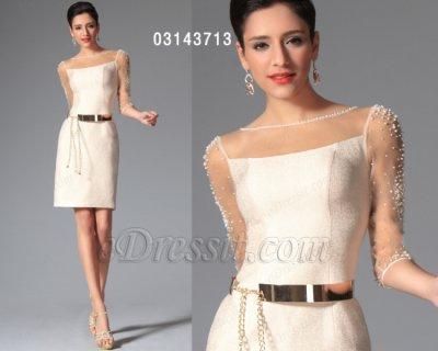 فستان أبيض بالخرزات للبيع