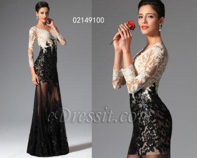 فستان الدانتيل الأسود والأبيض للبيع