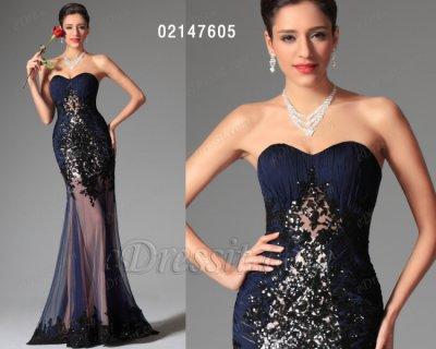 فستان أزرق قاتم رائج للبيع