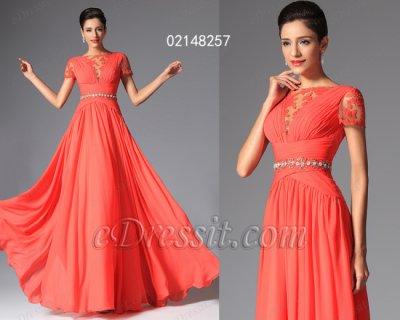 فستان أحمر بالدانتيل