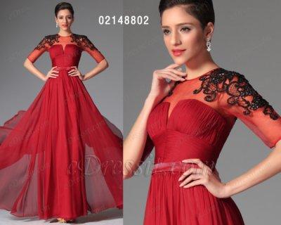 فستان أحمر بأكمام المتوسطة eDressit