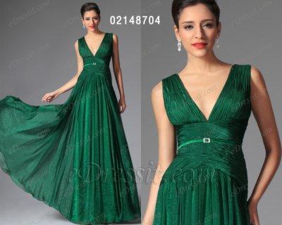 فستان أخضر بياقة v للبيع