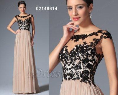 فستان طويل من الشيفون والدانتيل