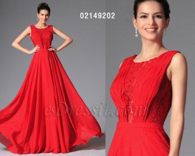فستان أحمر بلا أكمام للبيع