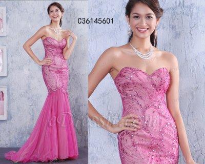 فستان وردي بالخرزات للبيع