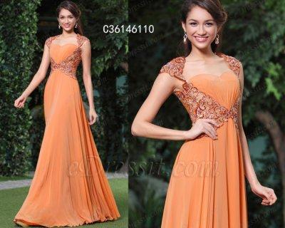 فستان برتقالي أنيق طويل للبيع