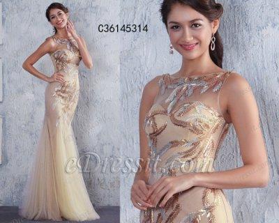 فستان شمباني بالخرزات للبيع