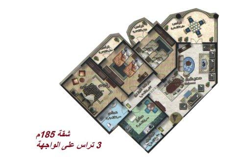 شقة 185م قريبة من نادي الشروق للبيع بمدينة الشروق