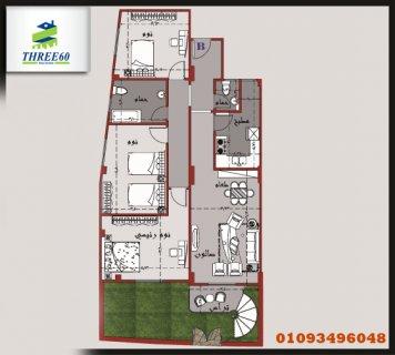 شقة أرضي 155 م بالشروق بحري مع حديقة 20م