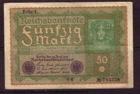 خمسين مارك المانى  من عام 1919