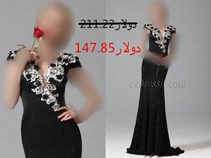 فستان السهرة بالورود 30%خصم