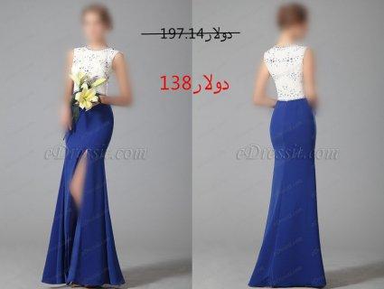 30%خصم فستان السهرة الأبيض والأزرق