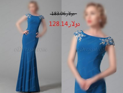 30%خصم فستان أزرق بلا أكمام