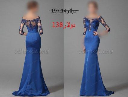 30%خصم فستان السهرة الأزرق العاري الكتف