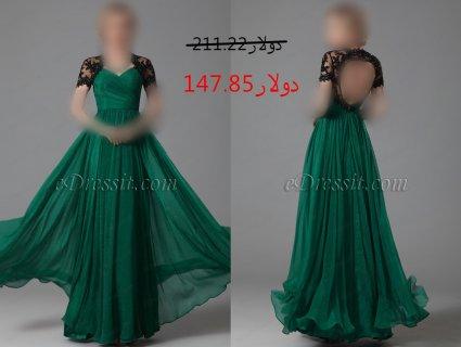 30%خصم فستان السهرة الأخضر للبيع