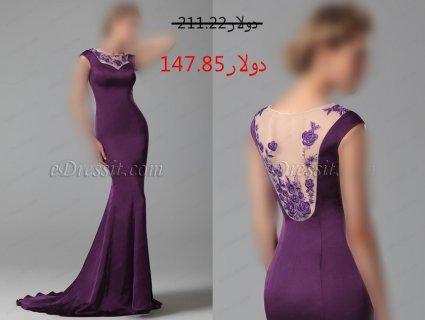 30%خصم فستان السهرة الأرجواني الأنيق
