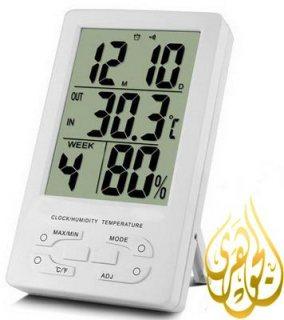ترمومتر درجة الحرارة والرطوبة فى الأماكن المغلقة المزود بساعة