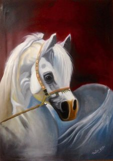 لوحة زيتية هاند ميد لحصان عربي
