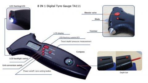 جهاز قياس ضغط الإطارات الرقمي متعدد الوظائف TA111