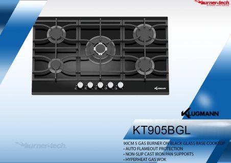 KT905BGL مسطح كلوجمان بلت ان غاز زجاج حرارى اسود  90 سم 5 شعلات