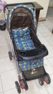 عربة وسرير اطفال جديده استعمال أسبوع