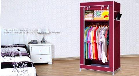 دولاب الملابس المحمول الوسط لتنظيم الملابس والمفروشات