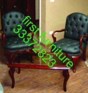 كرسي جلد ثابت بخشب زان متميز جدا من معارض فرست فرنتشر