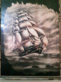 لوحة السفينة رسم بالفحم نادرة منذ أكثر من سبعين سنة