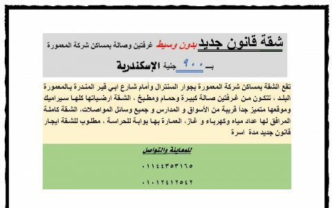 شقة قانون جديد بدون وسيط غرفتين وصالة بمساكن شركة المعمورة بـــ 900 ج الإسكندرية